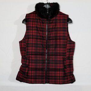 Chaps plaid with faux fur collar vest